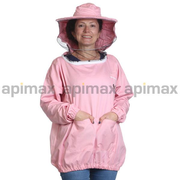 Γυναικεία Μελισσοκομική Μπλούζα με Μάσκα-Προσωπίδα Τούλι-Πανί Ροζ Apimax