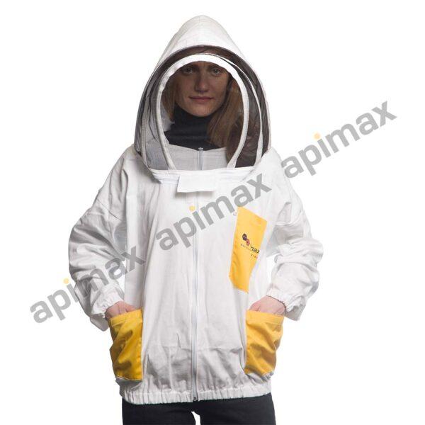 Unisex Μελισσοκομικό Μπουφάν με Μάσκα Αστρονάυτη Apimax Λευκό-Κίτρινο